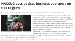 NACCUG boss advises business operators on tips to grow - COVER IMAGE