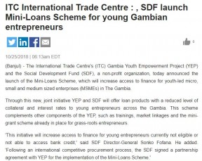 ITC International Trade Centre, SDF launch Mini-Loans Scheme for young Gambian entrepreneurs - COVER IMAGE