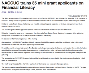 NACCUG trains 35 mini grant applicants on Financial Literacy - COVER IMAGE